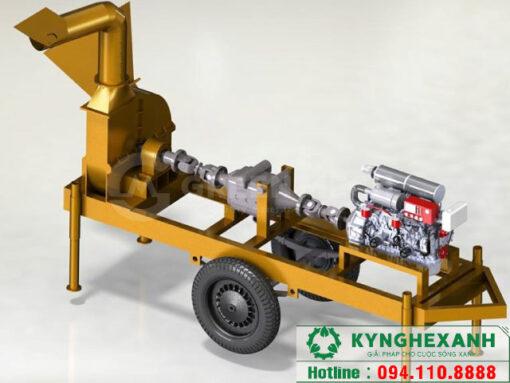 Máy băm gỗ di động 5 tấn chạy dầu